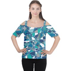 Abstract Background Blue Teal Cutout Shoulder Tee by Celenk