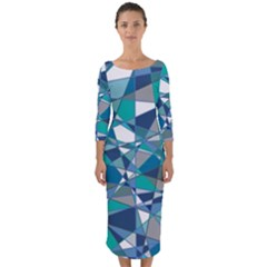 Abstract Background Blue Teal Quarter Sleeve Midi Bodycon Dress