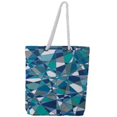 Abstract Background Blue Teal Full Print Rope Handle Tote (large) by Celenk