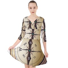 Compass North South East Wes Quarter Sleeve Front Wrap Dress