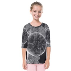 Space Universe Earth Rocket Kids  Quarter Sleeve Raglan Tee by Celenk