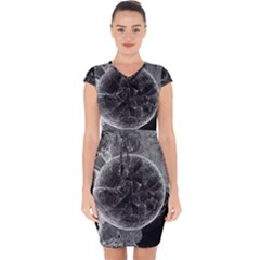 Space Universe Earth Rocket Capsleeve Drawstring Dress  by Celenk