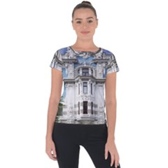 Squad Latvia Architecture Short Sleeve Sports Top  by Celenk