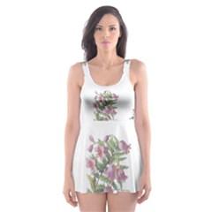 Rose Flowers Campanula Bellflower Skater Dress Swimsuit by Celenk