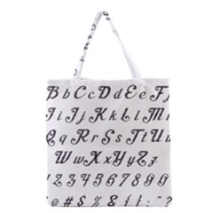 Font Lettering Alphabet Writing Grocery Tote Bag by Celenk