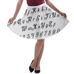 Font Lettering Alphabet Writing A Line Skater Skirt by Celenk