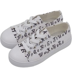 Font Lettering Alphabet Writing Kids  Low Top Canvas Sneakers by Celenk