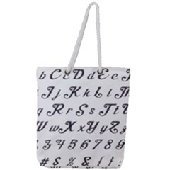 Font Lettering Alphabet Writing Full Print Rope Handle Tote (large) by Celenk