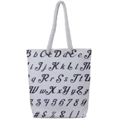 Font Lettering Alphabet Writing Full Print Rope Handle Tote (small) by Celenk