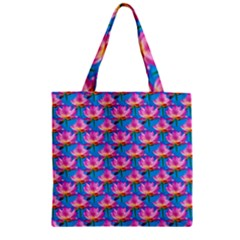 Seamless Flower Pattern Colorful Zipper Grocery Tote Bag by Celenk