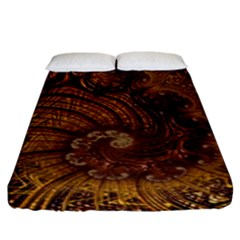 Copper Caramel Swirls Abstract Art Fitted Sheet (king Size) by Celenk