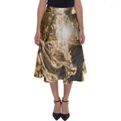 Gold Sea Coast Waves Depier Perfect Length Midi Skirt