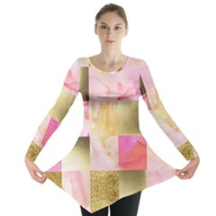 Collage Gold And Pink Long Sleeve Tunic  by 8fugoso