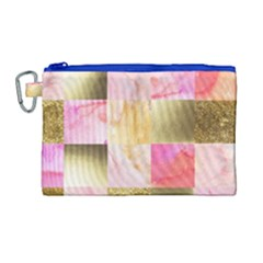 Collage Gold And Pink Canvas Cosmetic Bag (large)
