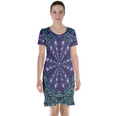 Star And Flower Mandala In Wonderful Colors Short Sleeve Nightdress