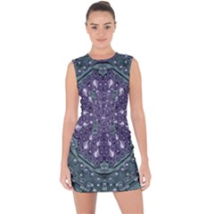 Star And Flower Mandala In Wonderful Colors Lace Up Front Bodycon Dress by pepitasart
