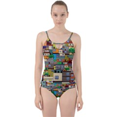 Building Cut Out Top Tankini Set