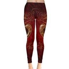 Wonderful Hearts With Floral Elemetns, Gold, Red Leggings  by FantasyWorld7
