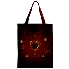 Wonderful Hearts With Floral Elemetns, Gold, Red Zipper Classic Tote Bag by FantasyWorld7