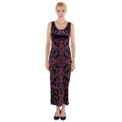 Modern Ornate Pattern Fitted Maxi Dress