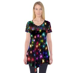Fireworks Rocket New Year S Day Short Sleeve Tunic  by Celenk