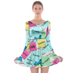 Stickies Post It List Business Long Sleeve Skater Dress by Celenk