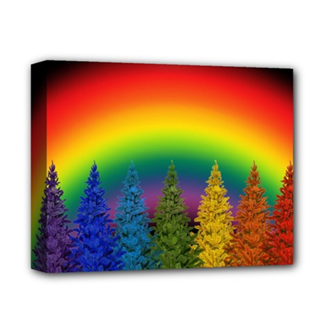Christmas Colorful Rainbow Colors Deluxe Canvas 14  X 11  by Celenk