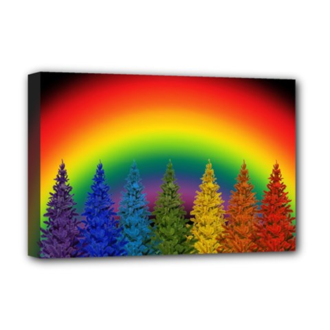 Christmas Colorful Rainbow Colors Deluxe Canvas 18  X 12   by Celenk