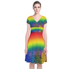 Christmas Colorful Rainbow Colors Short Sleeve Front Wrap Dress