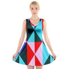 Geometric Pattern V Neck Sleeveless Skater Dress by Celenk