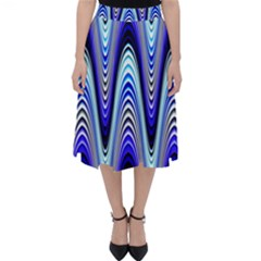 Waves Wavy Blue Pale Cobalt Navy Folding Skater Skirt