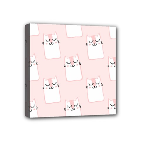 Pattern Cat Pink Cute Sweet Fur Mini Canvas 4  X 4  by Celenk