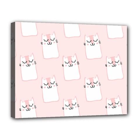Pattern Cat Pink Cute Sweet Fur Canvas 14  x 11