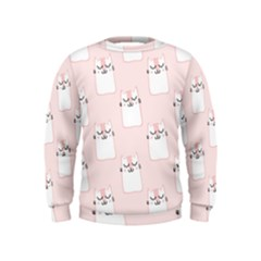 Pattern Cat Pink Cute Sweet Fur Kids  Sweatshirt