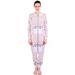 Pattern Cat Pink Cute Sweet Fur OnePiece Jumpsuit (Ladies)