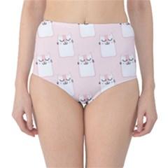 Pattern Cat Pink Cute Sweet Fur High-Waist Bikini Bottoms