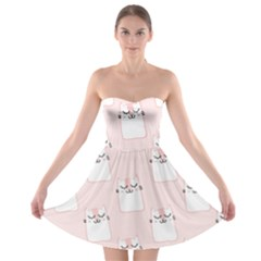 Pattern Cat Pink Cute Sweet Fur Strapless Bra Top Dress