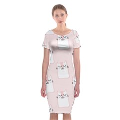 Pattern Cat Pink Cute Sweet Fur Classic Short Sleeve Midi Dress by Celenk