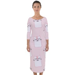 Pattern Cat Pink Cute Sweet Fur Quarter Sleeve Midi Bodycon Dress
