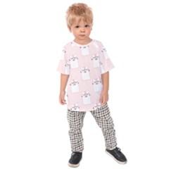 Pattern Cat Pink Cute Sweet Fur Kids Raglan Tee
