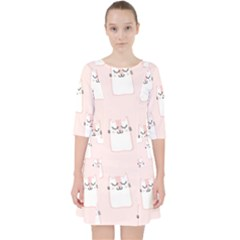 Pattern Cat Pink Cute Sweet Fur Pocket Dress