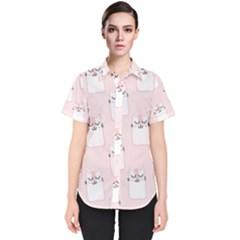 Pattern Cat Pink Cute Sweet Fur Women s Short Sleeve Shirt