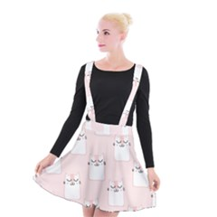 Pattern Cat Pink Cute Sweet Fur Suspender Skater Skirt