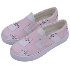 Pattern Cat Pink Cute Sweet Fur Kids  Canvas Slip Ons