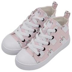 Pattern Cat Pink Cute Sweet Fur Kid s Mid-Top Canvas Sneakers