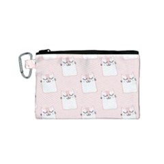 Pattern Cat Pink Cute Sweet Fur Canvas Cosmetic Bag (small) by Celenk