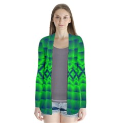 Shiny Lime Navy Sheen Radiate 3d Drape Collar Cardigan