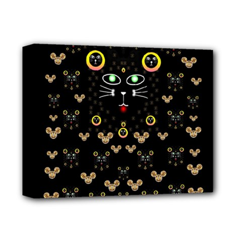Merry Black Cat In The Night And A Mouse Involved Pop Art Deluxe Canvas 14  X 11  by pepitasart