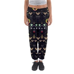 Merry Black Cat In The Night And A Mouse Involved Pop Art Women s Jogger Sweatpants by pepitasart