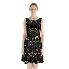Merry Black Cat In The Night And A Mouse Involved Pop Art Sleeveless Waist Tie Chiffon Dress
